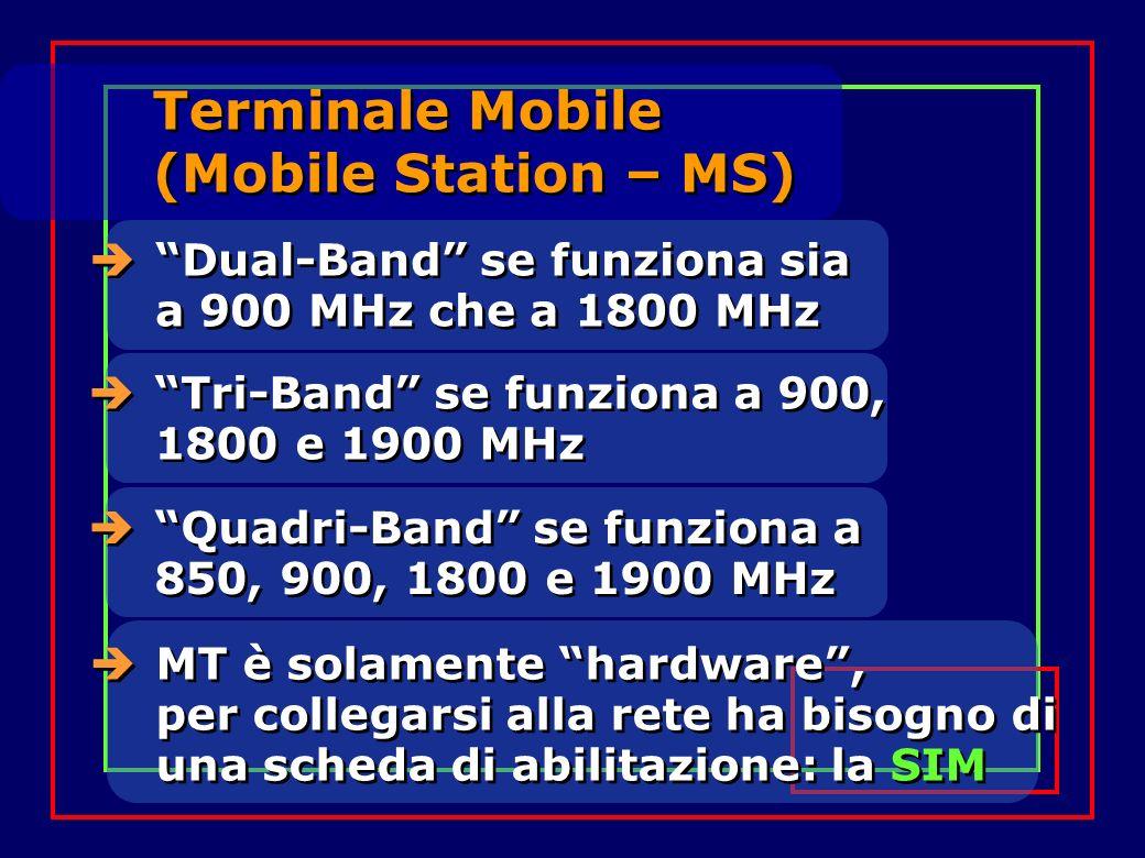 Dual-Band se funziona sia a 900 MHz che a 1800 MHz MT è solamente hardware, per collegarsi alla rete ha bisogno di una scheda di abilitazione: la SIM Terminale Mobile (Mobile Station – MS) Tri-Band se funziona a 900, 1800 e 1900 MHz Quadri-Band se funziona a 850, 900, 1800 e 1900 MHz