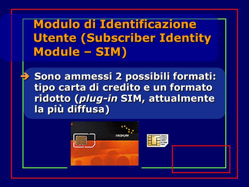 Modulo di Identificazione Utente (Subscriber Identity Module – SIM) Sono ammessi 2 possibili formati: tipo carta di credito e un formato ridotto (plug-in SIM, attualmente la più diffusa)