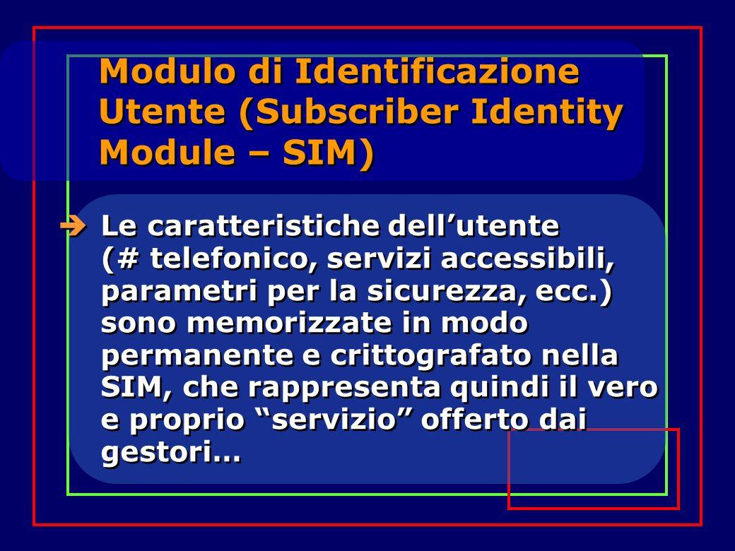 Modulo di Identificazione Utente (Subscriber Identity Module – SIM) Le caratteristiche dellutente (# telefonico, servizi accessibili, parametri per la sicurezza, ecc.) sono memorizzate in modo permanente e crittografato nella SIM, che rappresenta quindi il vero e proprio servizio offerto dai gestori…