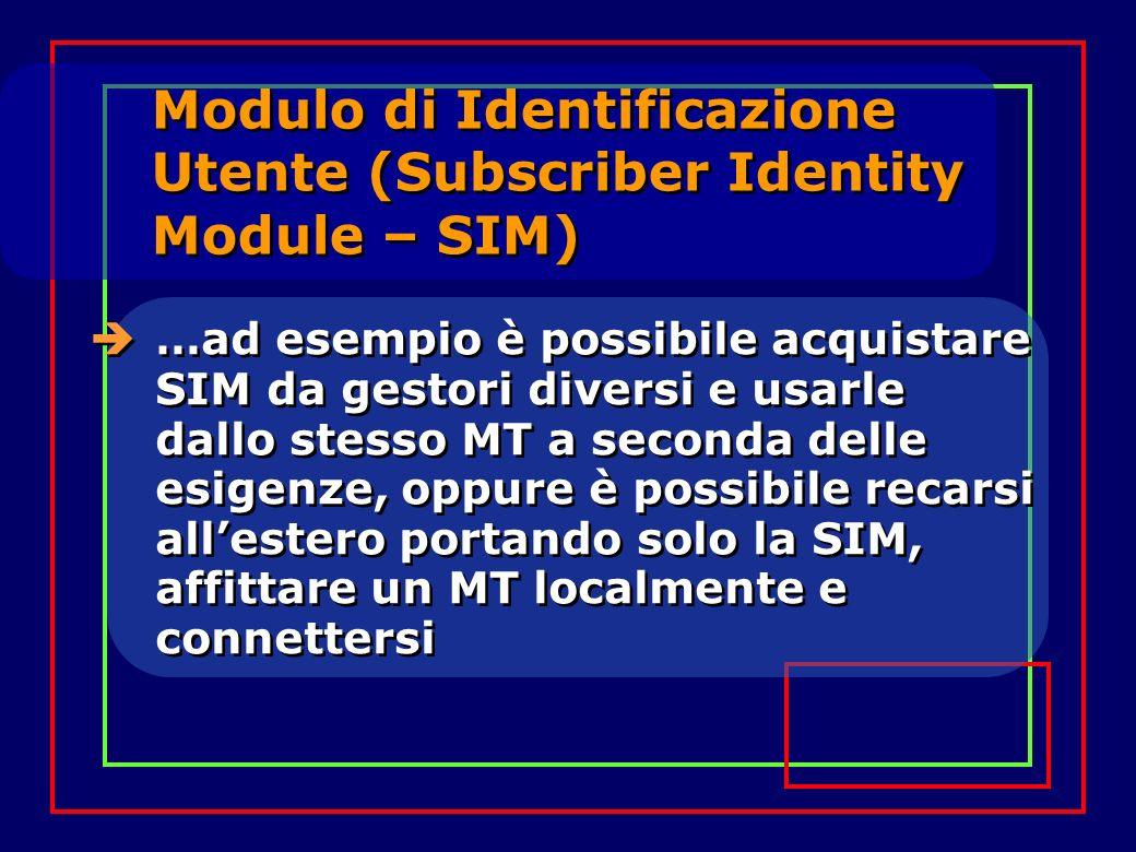 Modulo di Identificazione Utente (Subscriber Identity Module – SIM) …ad esempio è possibile acquistare SIM da gestori diversi e usarle dallo stesso MT a seconda delle esigenze, oppure è possibile recarsi allestero portando solo la SIM, affittare un MT localmente e connettersi