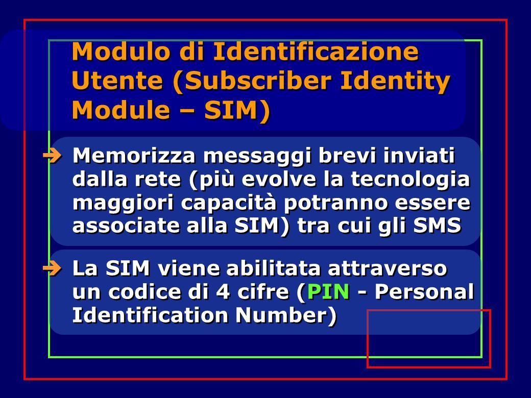 Modulo di Identificazione Utente (Subscriber Identity Module – SIM) Memorizza messaggi brevi inviati dalla rete (più evolve la tecnologia maggiori capacità potranno essere associate alla SIM) tra cui gli SMS La SIM viene abilitata attraverso un codice di 4 cifre (PIN - Personal Identification Number)