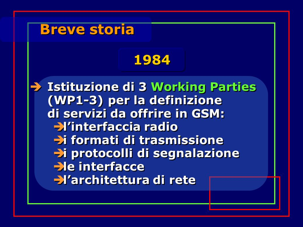 Breve storia Definizione della lista di raccomandazioni che il GSM deve produrre (finiranno per essere circa 130: 1500 pagine in 12 volumi!...più tutti quelli relativi allevoluzione, cioè le fasi 2+ e 3 di GSM, rilasciati in anni successivi) 1985