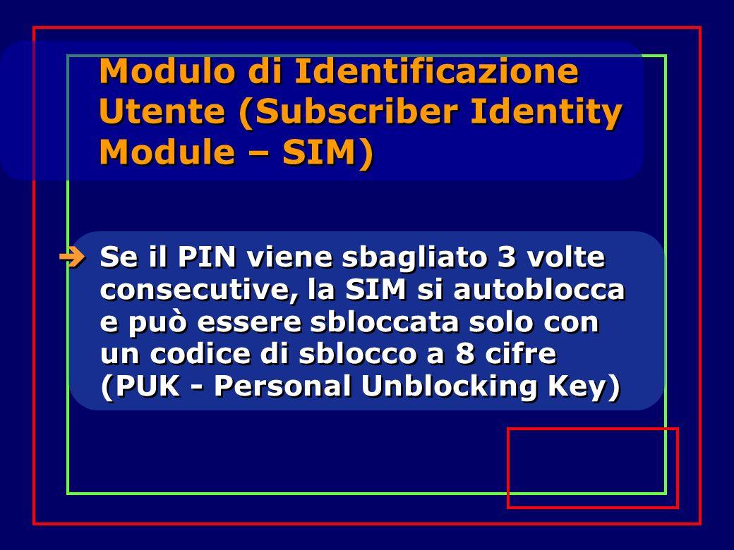 Modulo di Identificazione Utente (Subscriber Identity Module – SIM) Se il PIN viene sbagliato 3 volte consecutive, la SIM si autoblocca e può essere sbloccata solo con un codice di sblocco a 8 cifre (PUK - Personal Unblocking Key)