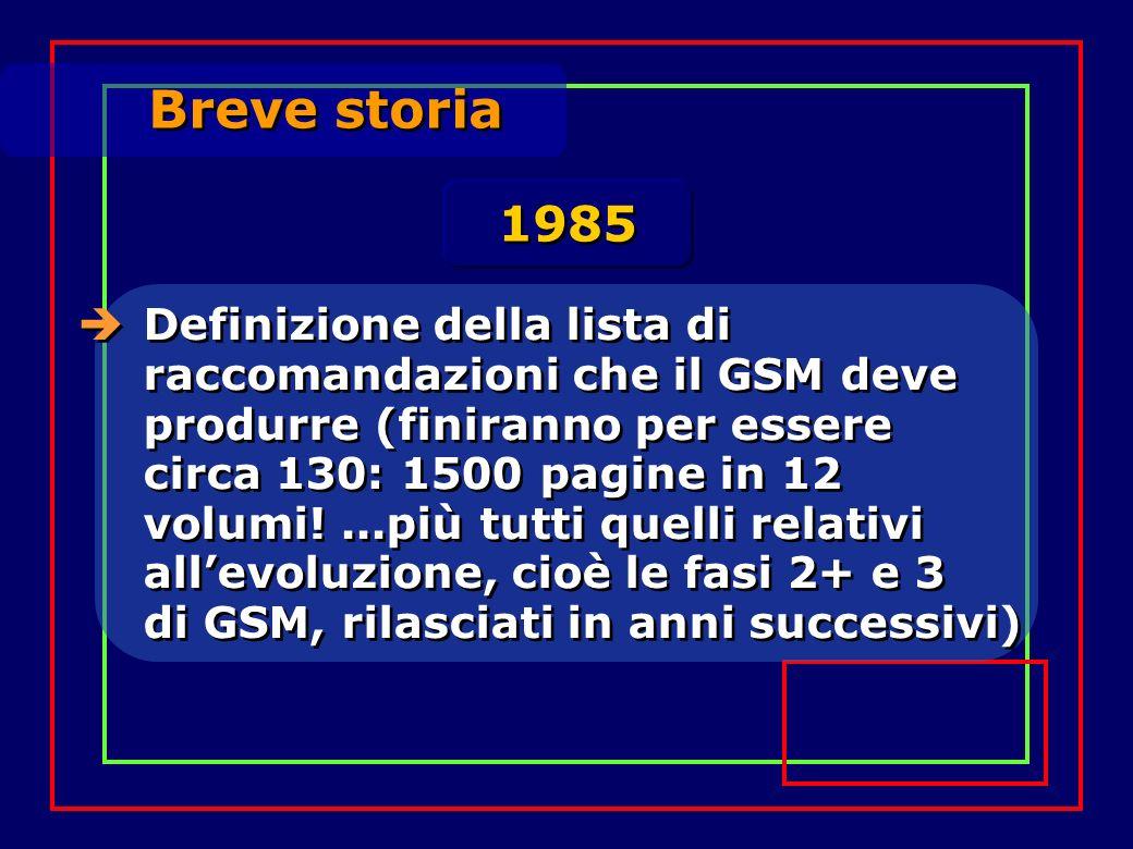 Breve storia Definizione della lista di raccomandazioni che il GSM deve produrre (finiranno per essere circa 130: 1500 pagine in 12 volumi!...più tutt