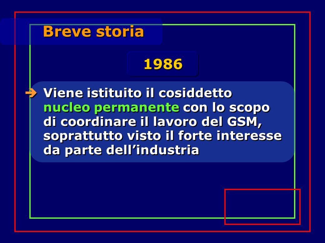 Breve storia Viene istituito il cosiddetto nucleo permanente con lo scopo di coordinare il lavoro del GSM, soprattutto visto il forte interesse da parte dellindustria 1986