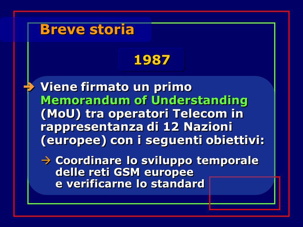 Breve storia Viene firmato un primo Memorandum of Understanding (MoU) tra operatori Telecom in rappresentanza di 12 Nazioni (europee) con i seguenti obiettivi: 1987 Coordinare lo sviluppo temporale delle reti GSM europee e verificarne lo standard