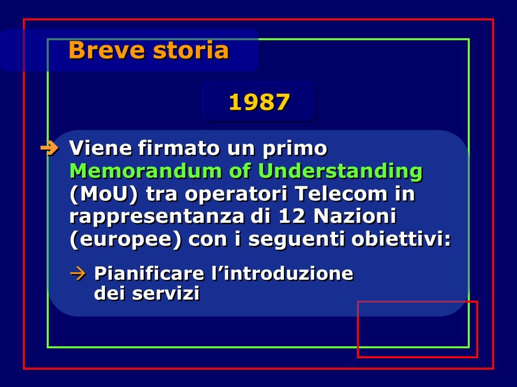 Breve storia Viene firmato un primo Memorandum of Understanding (MoU) tra operatori Telecom in rappresentanza di 12 Nazioni (europee) con i seguenti obiettivi: 1987 Pianificare lintroduzione dei servizi