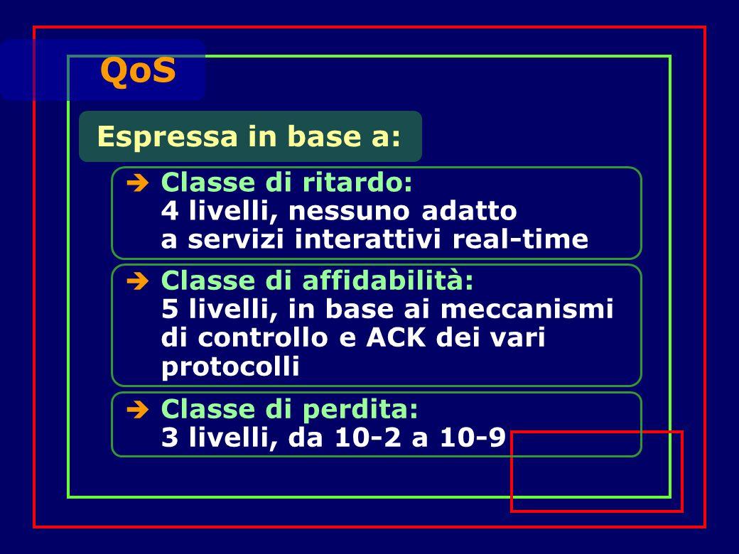 Espressa in base a: Classe di ritardo: 4 livelli, nessuno adatto a servizi interattivi real-time QoS Classe di affidabilità: 5 livelli, in base ai meccanismi di controllo e ACK dei vari protocolli Classe di perdita: 3 livelli, da 10-2 a 10-9