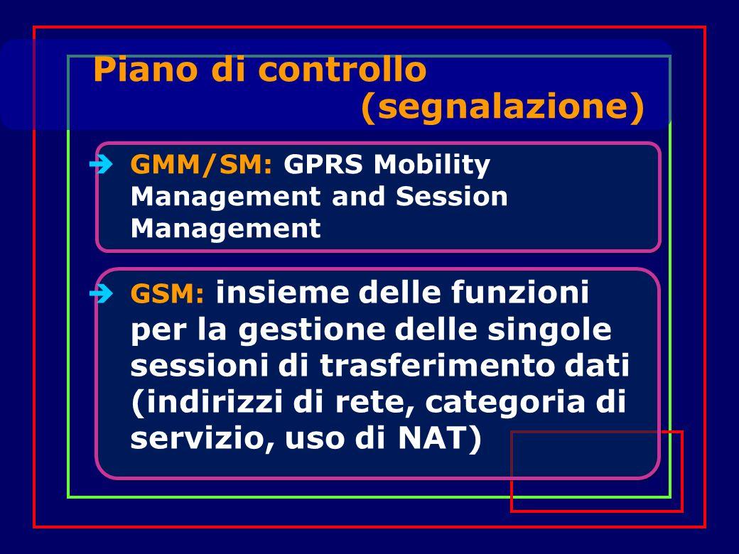 GMM/SM: GPRS Mobility Management and Session Management Piano di controllo (segnalazione) GSM: insieme delle funzioni per la gestione delle singole sessioni di trasferimento dati (indirizzi di rete, categoria di servizio, uso di NAT)