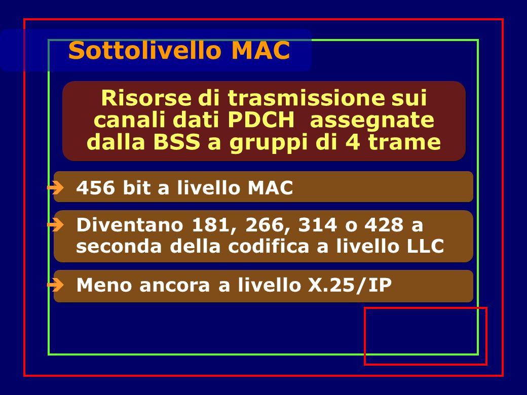 Risorse di trasmissione sui canali dati PDCH assegnate dalla BSS a gruppi di 4 trame 456 bit a livello MAC Diventano 181, 266, 314 o 428 a seconda della codifica a livello LLC Meno ancora a livello X.25/IP Sottolivello MAC