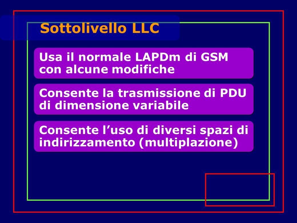 Usa il normale LAPDm di GSM con alcune modifiche Sottolivello LLC Consente la trasmissione di PDU di dimensione variabile Consente luso di diversi spazi di indirizzamento (multiplazione)