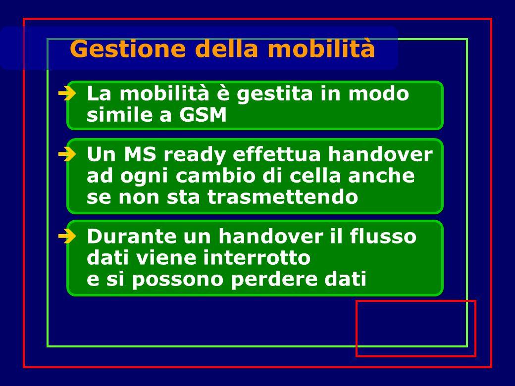 La mobilità è gestita in modo simile a GSM Un MS ready effettua handover ad ogni cambio di cella anche se non sta trasmettendo Gestione della mobilità Durante un handover il flusso dati viene interrotto e si possono perdere dati