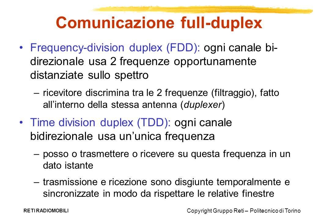 Copyright Gruppo Reti – Politecnico di Torino RETI RADIOMOBILI Comunicazione full-duplex Frequency-division duplex (FDD): ogni canale bi- direzionale