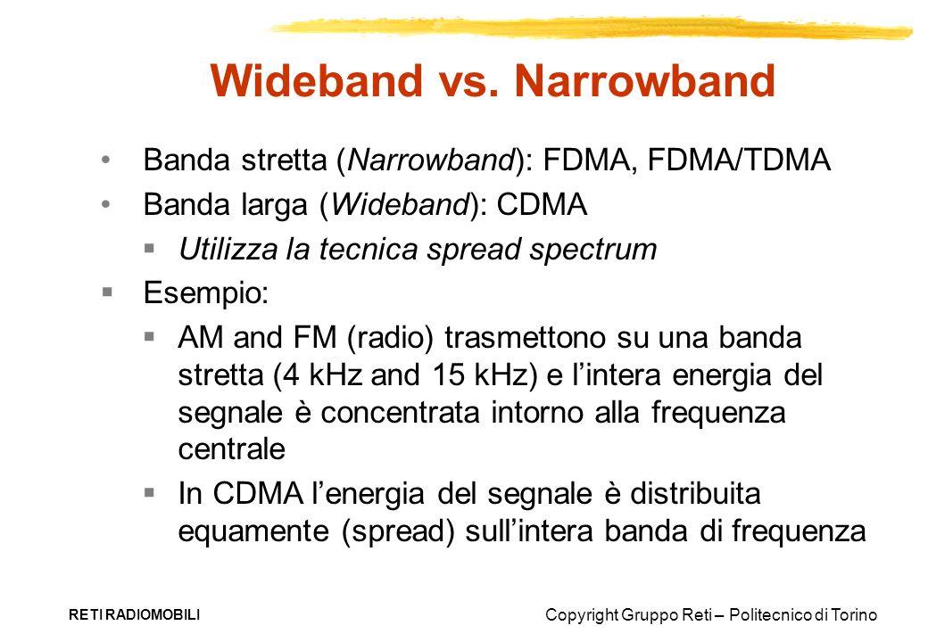 Copyright Gruppo Reti – Politecnico di Torino RETI RADIOMOBILI Wideband vs. Narrowband Banda stretta (Narrowband): FDMA, FDMA/TDMA Banda larga (Wideba