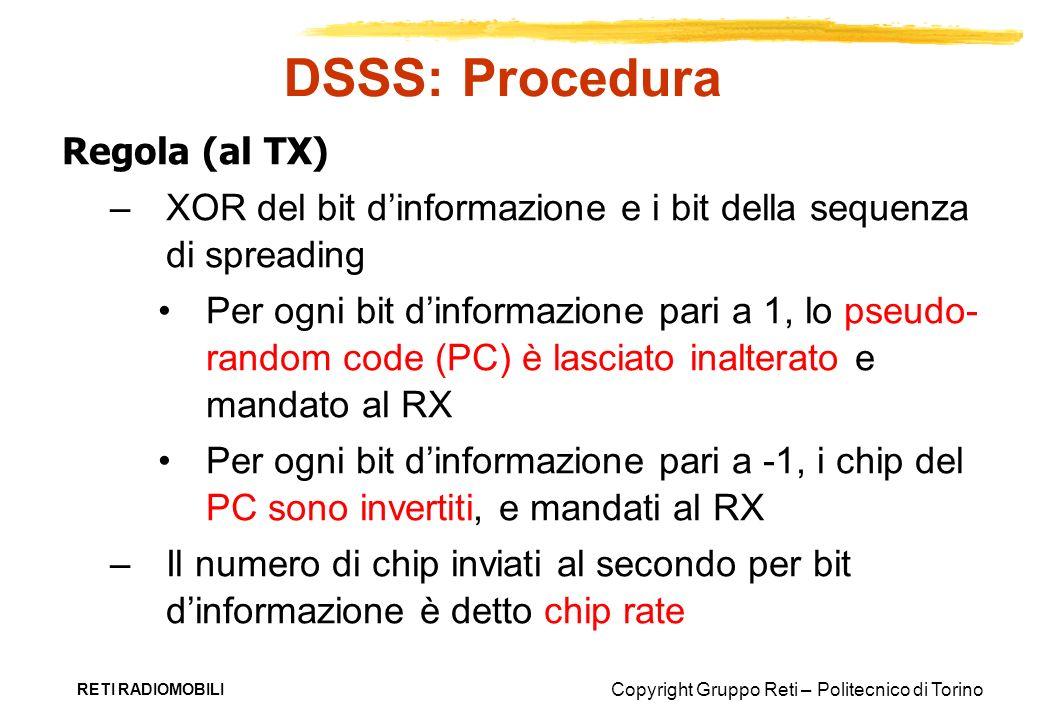 Copyright Gruppo Reti – Politecnico di Torino RETI RADIOMOBILI DSSS: Procedura Regola (al TX) –XOR del bit dinformazione e i bit della sequenza di spr