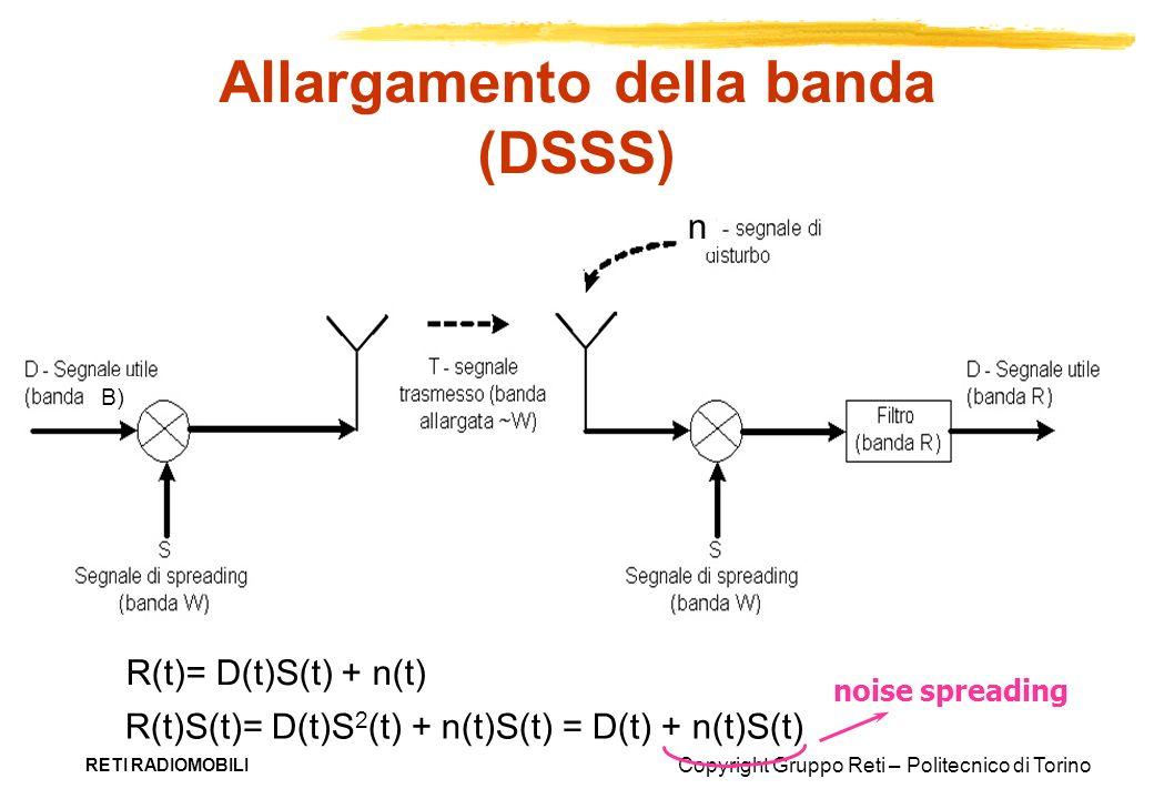 Copyright Gruppo Reti – Politecnico di Torino RETI RADIOMOBILI Allargamento della banda (DSSS) R(t)= D(t)S(t) + n(t) R(t)S(t)= D(t)S 2 (t) + n(t)S(t)