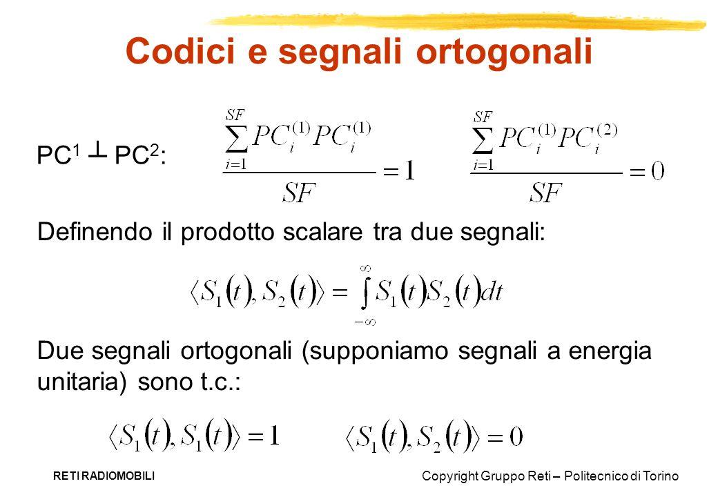 Copyright Gruppo Reti – Politecnico di Torino RETI RADIOMOBILI Codici e segnali ortogonali PC 1 PC 2 : Due segnali ortogonali (supponiamo segnali a en
