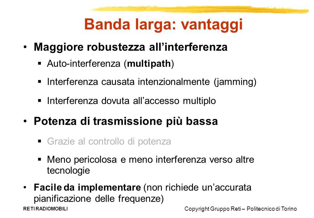 Copyright Gruppo Reti – Politecnico di Torino RETI RADIOMOBILI Banda larga: vantaggi Maggiore robustezza allinterferenza Auto-interferenza (multipath)