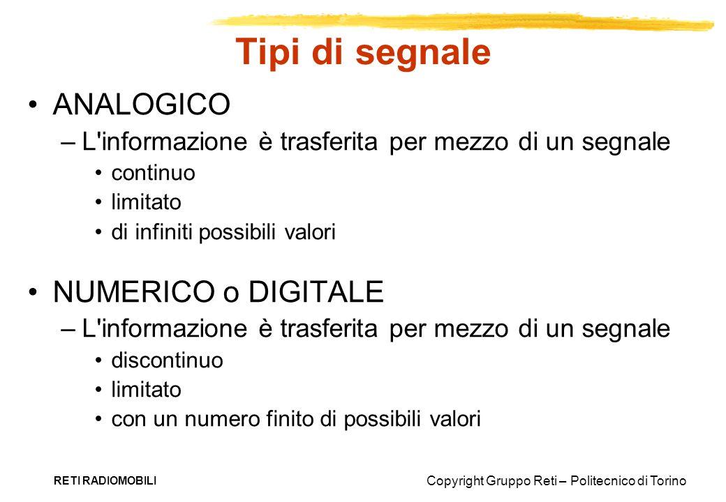 Copyright Gruppo Reti – Politecnico di Torino RETI RADIOMOBILI Tipi di segnale ANALOGICO –L'informazione è trasferita per mezzo di un segnale continuo