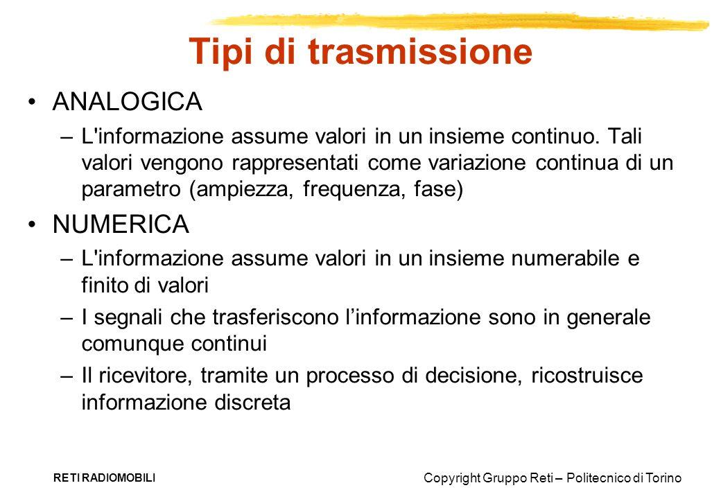 Copyright Gruppo Reti – Politecnico di Torino RETI RADIOMOBILI Tipi di trasmissione ANALOGICA –L'informazione assume valori in un insieme continuo. Ta