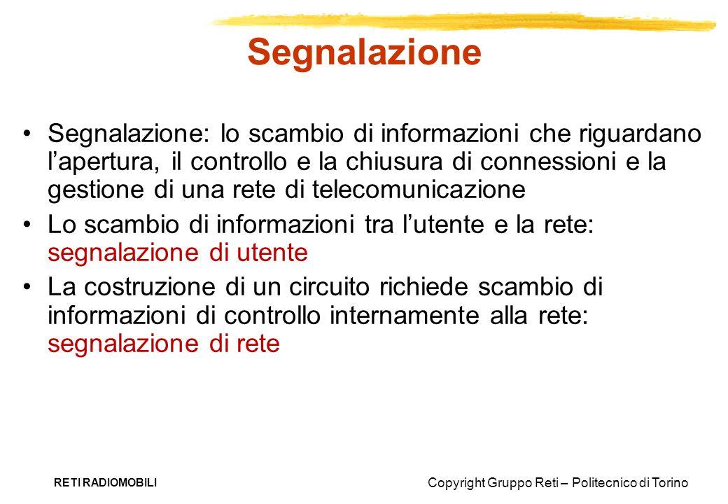 Copyright Gruppo Reti – Politecnico di Torino RETI RADIOMOBILI Segnalazione Segnalazione: lo scambio di informazioni che riguardano lapertura, il cont