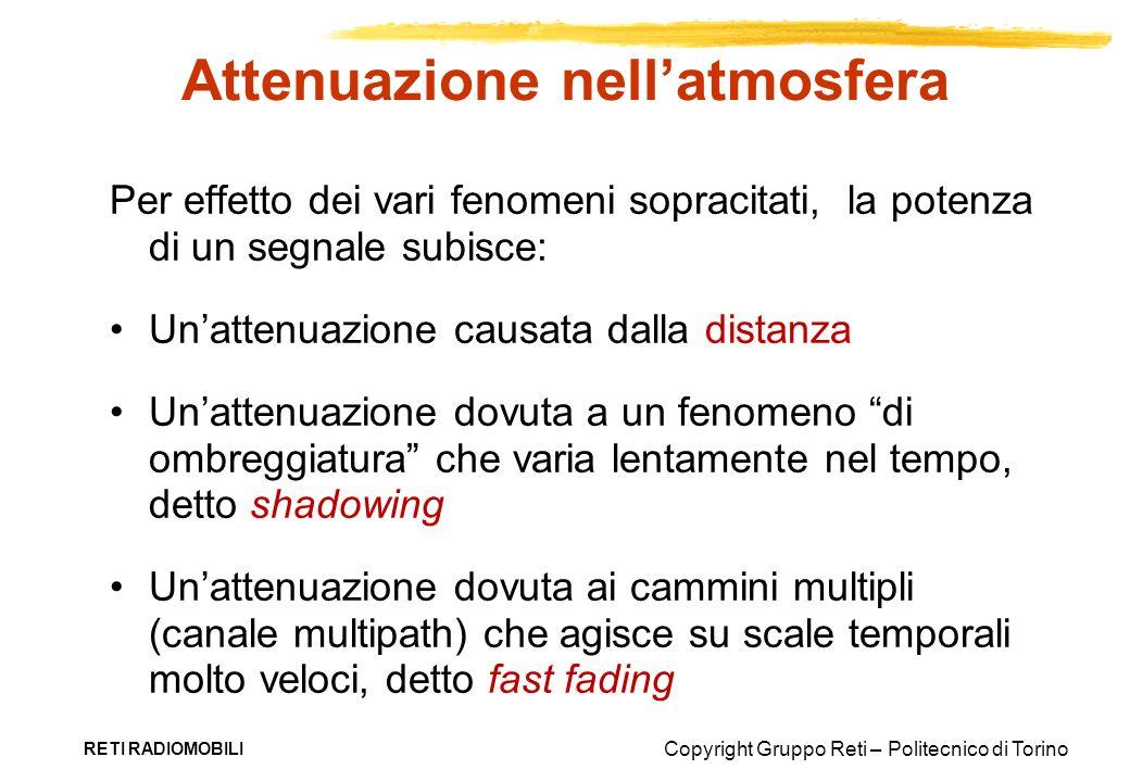 Copyright Gruppo Reti – Politecnico di Torino RETI RADIOMOBILI Per effetto dei vari fenomeni sopracitati, la potenza di un segnale subisce: Unattenuaz