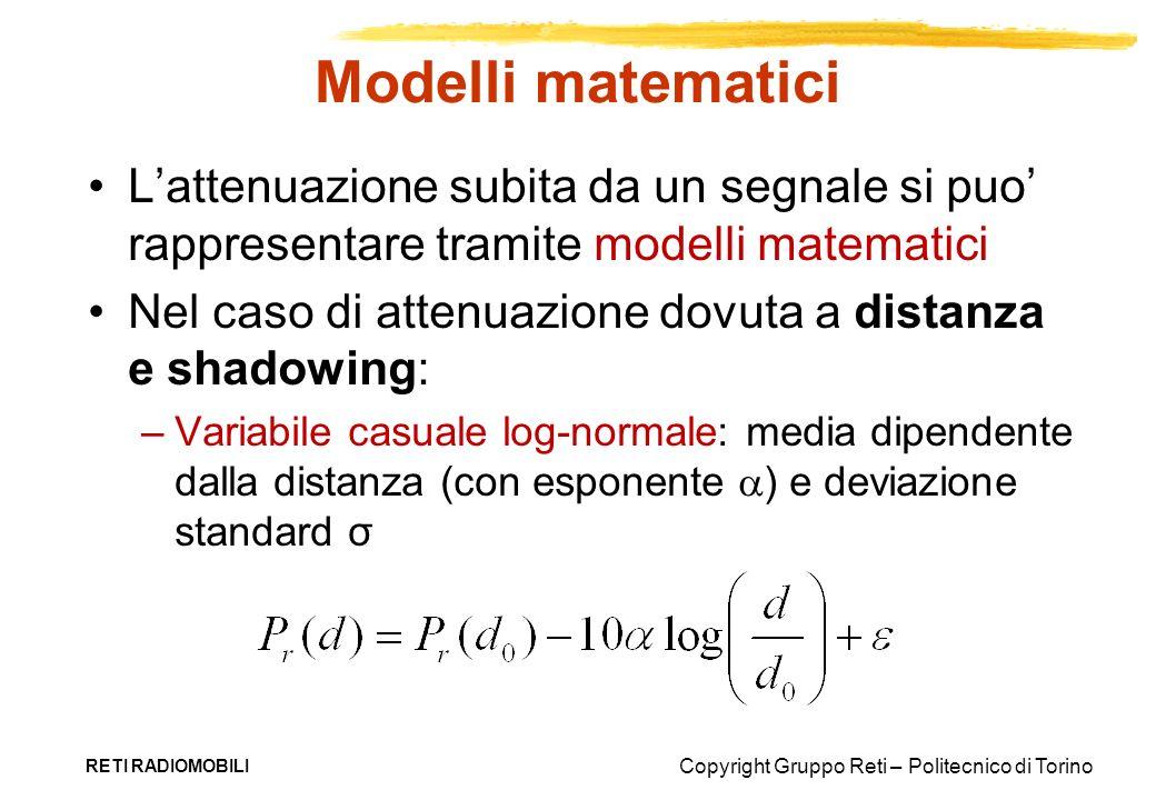 Copyright Gruppo Reti – Politecnico di Torino Modelli matematici Lattenuazione subita da un segnale si puo rappresentare tramite modelli matematici Ne