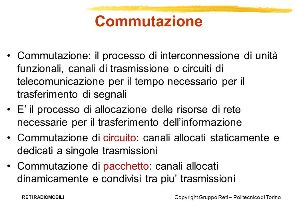 Copyright Gruppo Reti – Politecnico di Torino RETI RADIOMOBILI Trasmissione Trasmissione: il trasferimento di segnali da un punto a uno o più altri punti Unicast: punto-punto Multicast: punto-multipunto Broadcast: punto-tutti