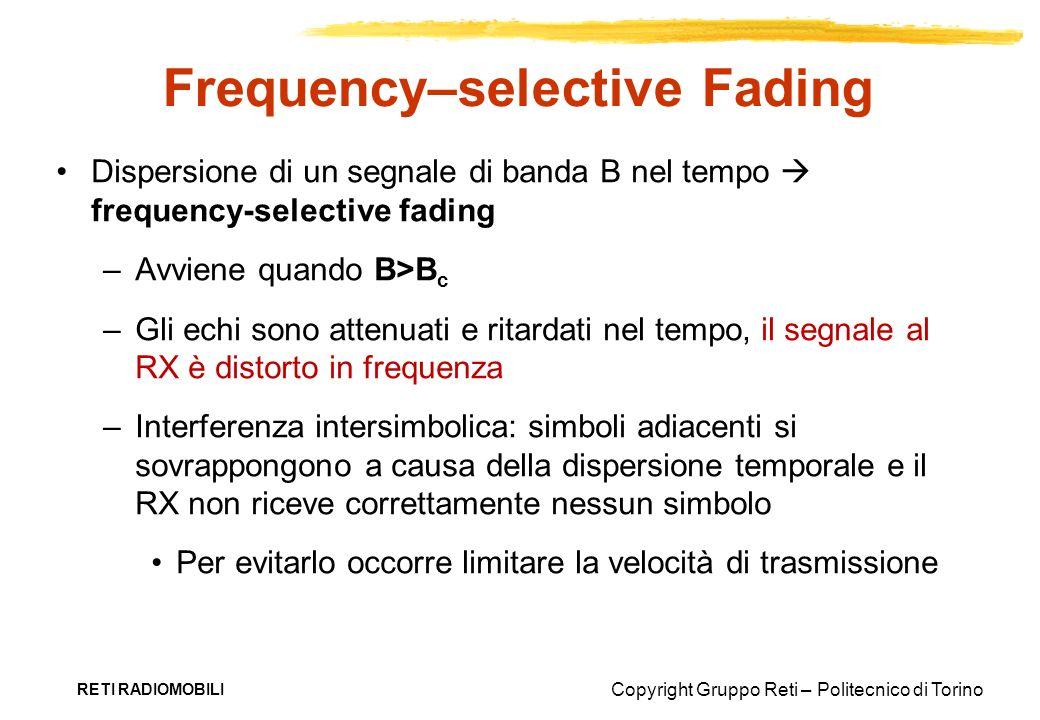 Copyright Gruppo Reti – Politecnico di Torino RETI RADIOMOBILI Frequency–selective Fading Dispersione di un segnale di banda B nel tempo frequency-sel