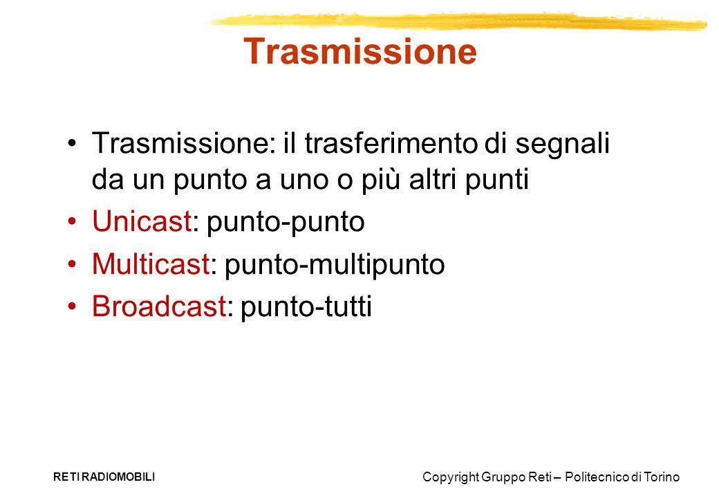 Copyright Gruppo Reti – Politecnico di Torino RETI RADIOMOBILI Trasmissione Trasmissione: il trasferimento di segnali da un punto a uno o più altri pu