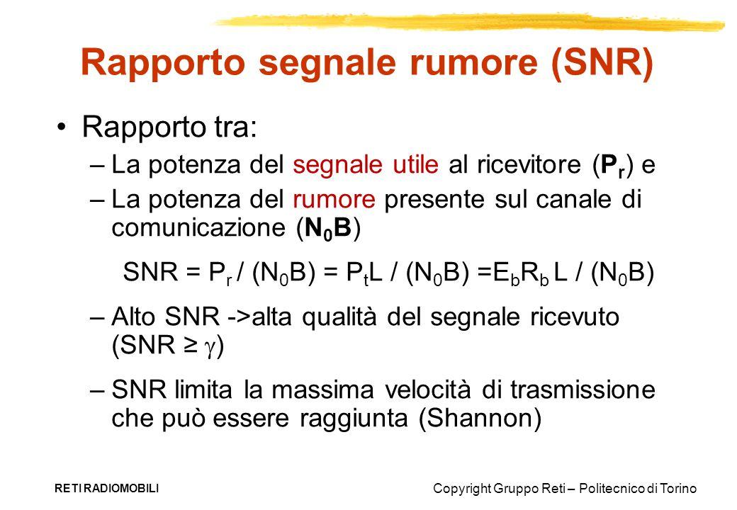Copyright Gruppo Reti – Politecnico di Torino RETI RADIOMOBILI Rapporto segnale rumore (SNR) Rapporto tra: –La potenza del segnale utile al ricevitore