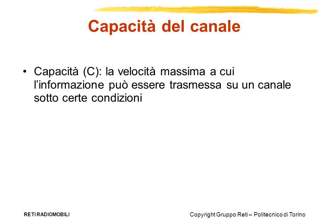 Copyright Gruppo Reti – Politecnico di Torino RETI RADIOMOBILI Capacità del canale Capacità (C): la velocità massima a cui linformazione può essere tr