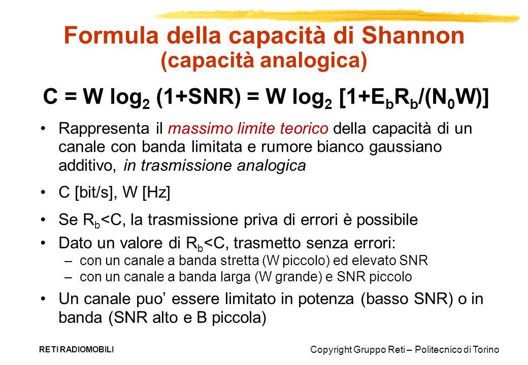 Copyright Gruppo Reti – Politecnico di Torino RETI RADIOMOBILI Formula della capacità di Shannon (capacità analogica) C = W log 2 (1+SNR) = W log 2 [1