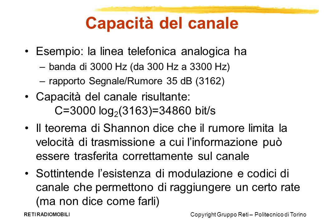 Copyright Gruppo Reti – Politecnico di Torino RETI RADIOMOBILI Capacità del canale Esempio: la linea telefonica analogica ha –banda di 3000 Hz (da 300