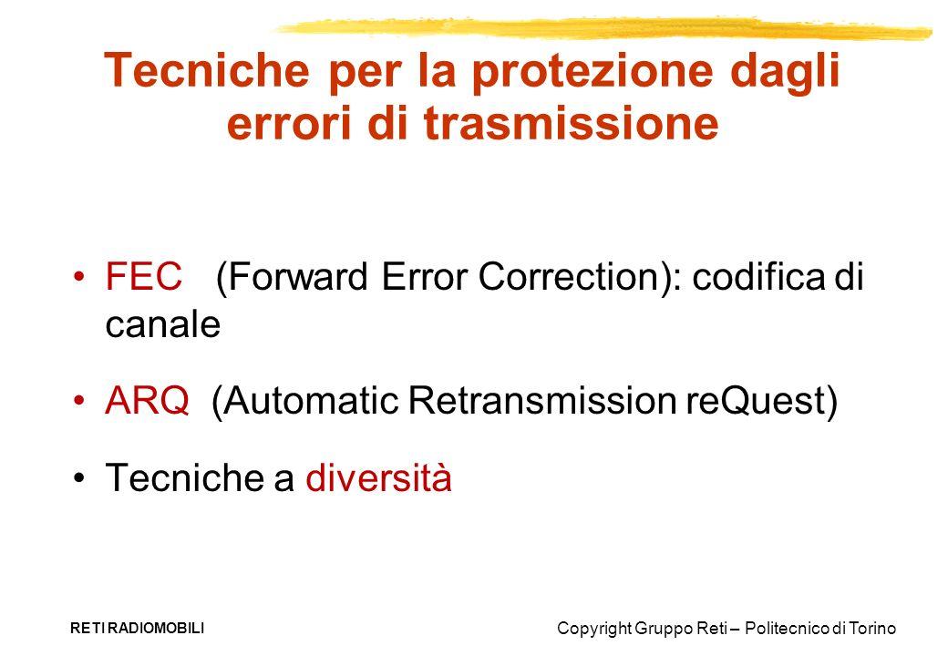 Copyright Gruppo Reti – Politecnico di Torino RETI RADIOMOBILI Tecniche per la protezione dagli errori di trasmissione FEC (Forward Error Correction):