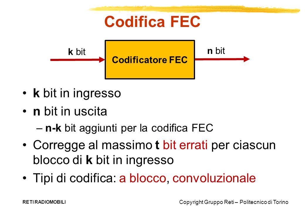 Copyright Gruppo Reti – Politecnico di Torino Codifica FEC k bit in ingresso n bit in uscita –n-k bit aggiunti per la codifica FEC Corregge al massimo