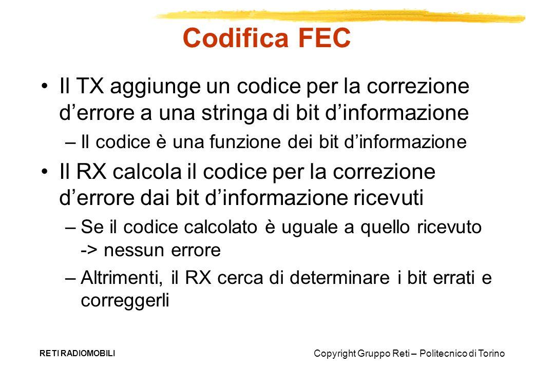 Copyright Gruppo Reti – Politecnico di Torino RETI RADIOMOBILI Codifica FEC Il TX aggiunge un codice per la correzione derrore a una stringa di bit di