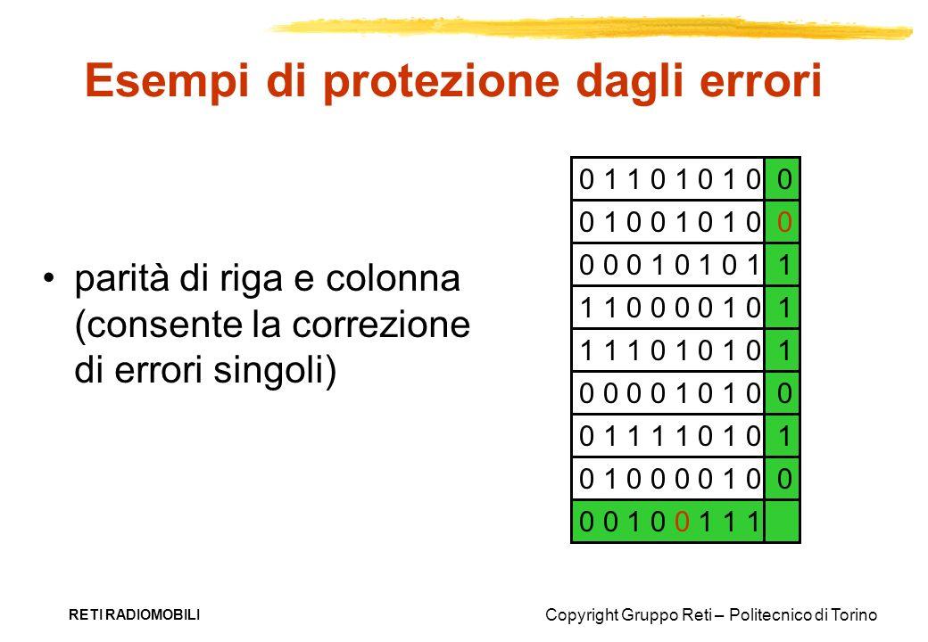 Copyright Gruppo Reti – Politecnico di Torino RETI RADIOMOBILI Esempi di protezione dagli errori parità di riga e colonna (consente la correzione di e