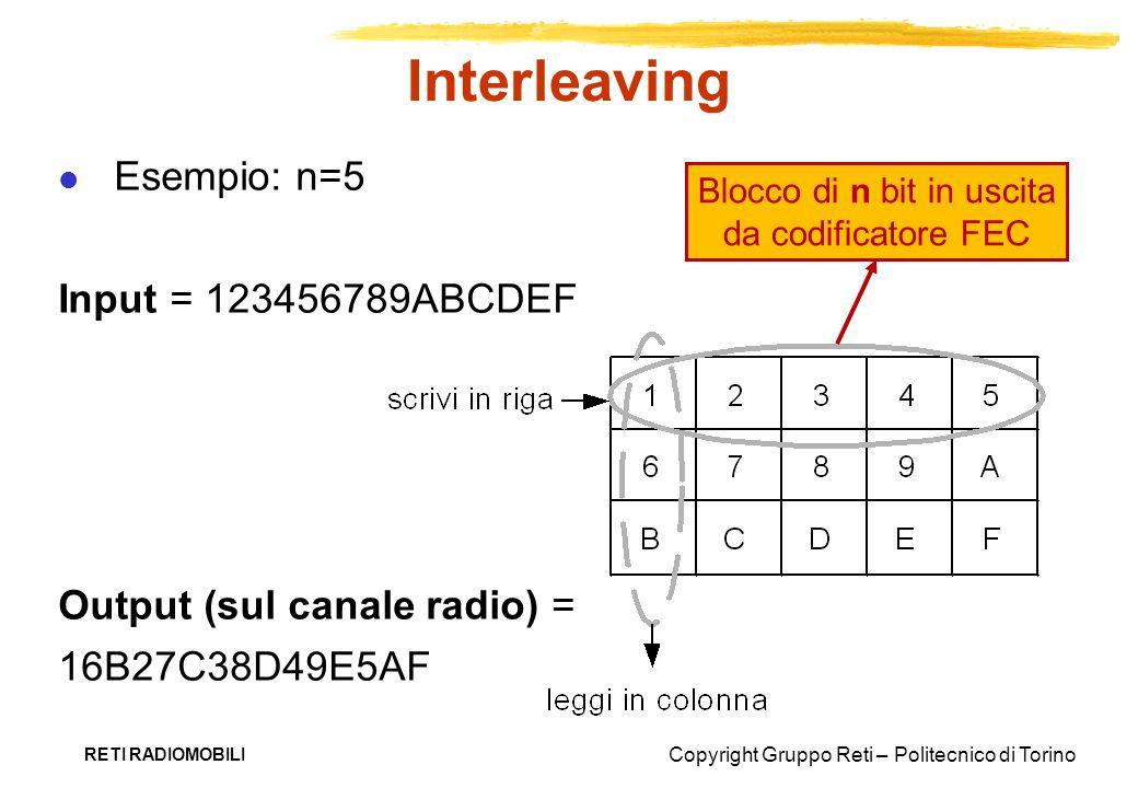 Copyright Gruppo Reti – Politecnico di Torino RETI RADIOMOBILI Interleaving Esempio: n=5 Input = 123456789ABCDEF Output (sul canale radio) = 16B27C38D