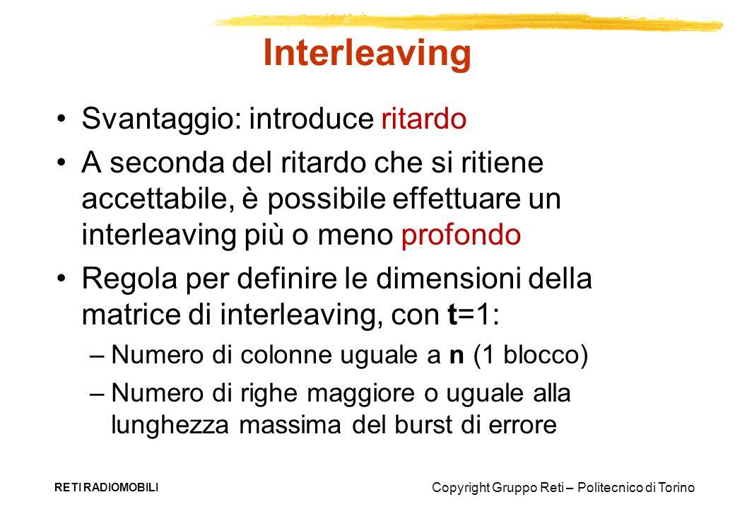 Copyright Gruppo Reti – Politecnico di Torino Interleaving Svantaggio: introduce ritardo A seconda del ritardo che si ritiene accettabile, è possibile