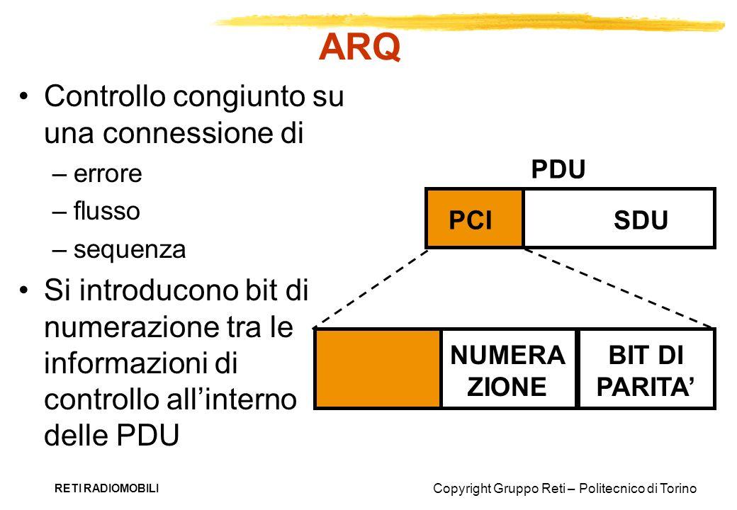 Copyright Gruppo Reti – Politecnico di Torino RETI RADIOMOBILI ARQ Controllo congiunto su una connessione di –errore –flusso –sequenza Si introducono
