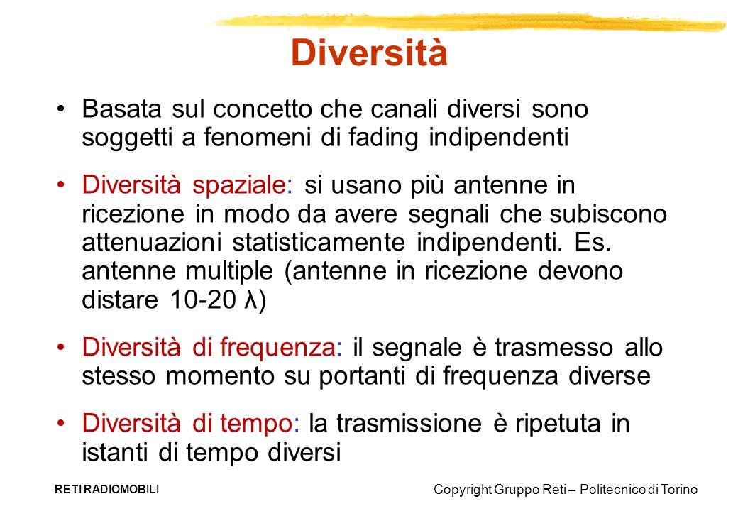 Copyright Gruppo Reti – Politecnico di Torino RETI RADIOMOBILI Diversità Basata sul concetto che canali diversi sono soggetti a fenomeni di fading ind