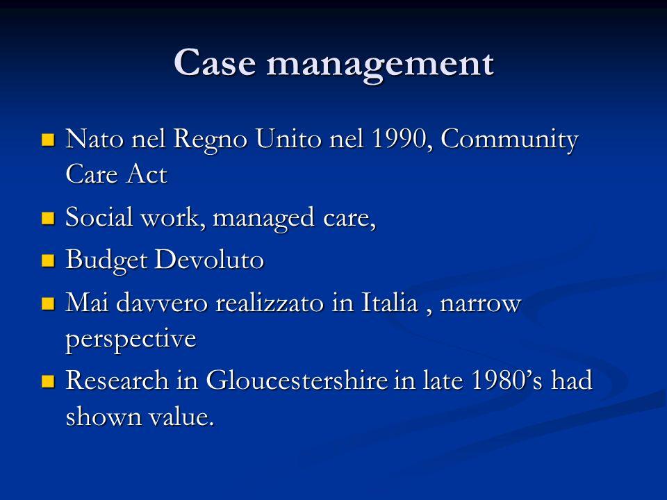 Case management Nato nel Regno Unito nel 1990, Community Care Act Nato nel Regno Unito nel 1990, Community Care Act Social work, managed care, Social