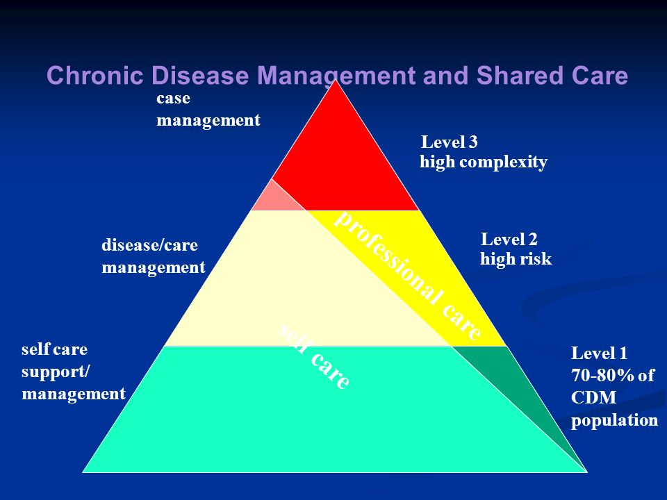 Chronic Disease Management and Shared Care professional care self care case management disease/care management self care support/ management Level 3 h