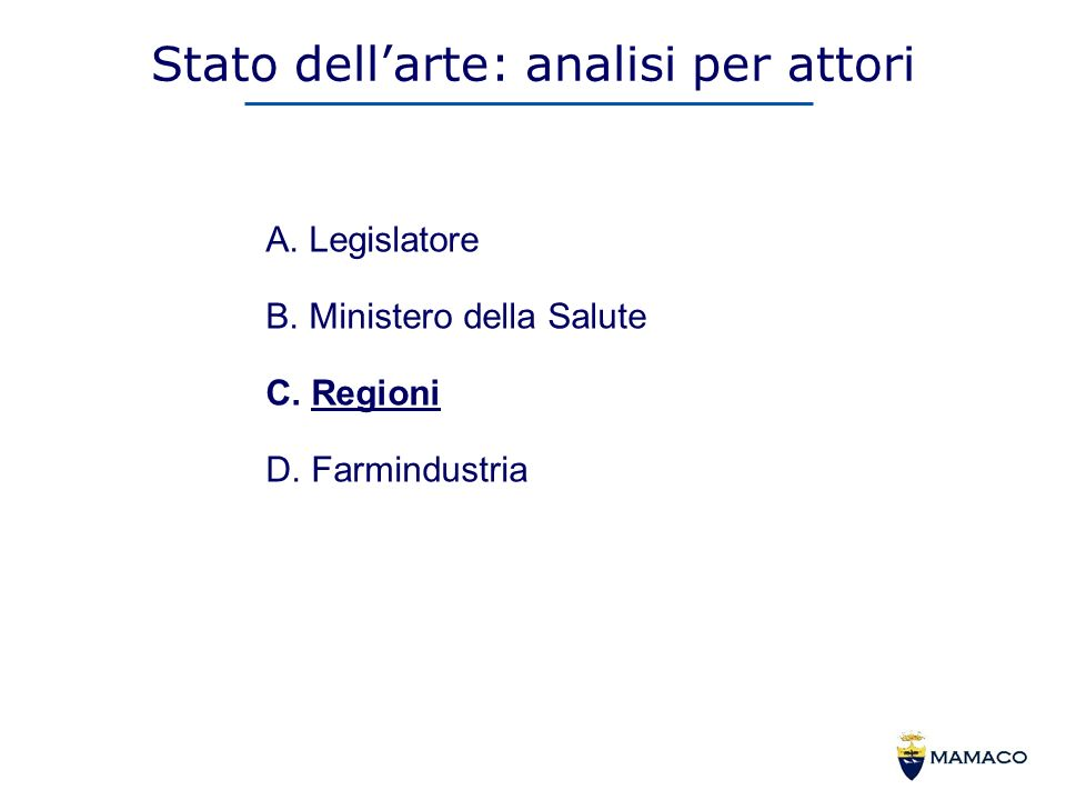 Stato dellarte: analisi per attori A. Legislatore B.