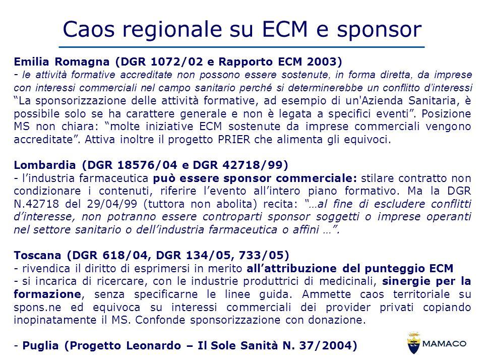 Caos regionale su ECM e sponsor Emilia Romagna (DGR 1072/02 e Rapporto ECM 2003) - le attività formative accreditate non possono essere sostenute, in forma diretta, da imprese con interessi commerciali nel campo sanitario perché si determinerebbe un conflitto dinteressi La sponsorizzazione delle attività formative, ad esempio di un Azienda Sanitaria, è possibile solo se ha carattere generale e non è legata a specifici eventi.