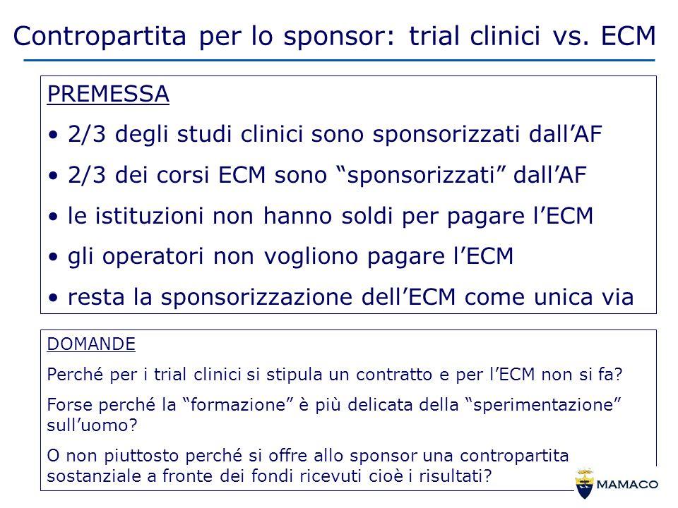 Contropartita per lo sponsor: trial clinici vs.