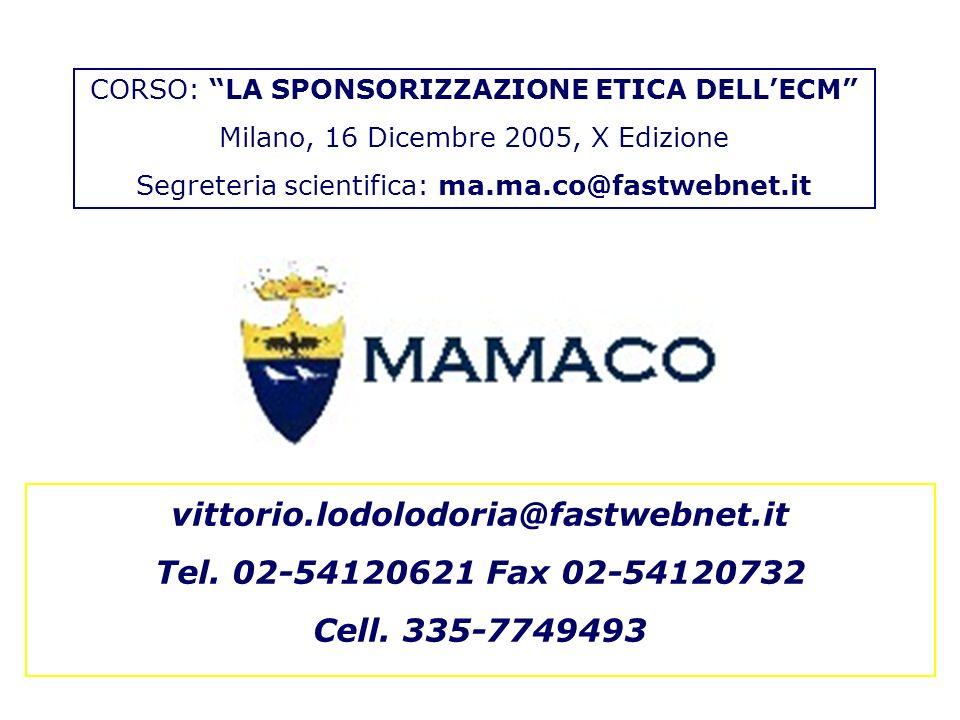 vittorio.lodolodoria@fastwebnet.it Tel. 02-54120621 Fax 02-54120732 Cell.