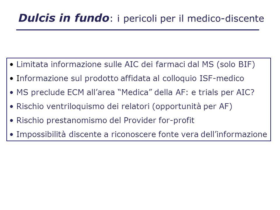 Le contropartite nellECM sponsorizzata I VANTAGGI PER LO SPONSOR (non solo immagine e visibilità) -Presentazione dellattività di ricerca scientifica (non del prodotto: ISF) -Selezione del relatore (meglio se dipendente e dellarea medica) -Tempo riservato allintervento dello sponsor (ipotesi % come per posti) -Posti riservati a disposizione dello sponsor (25% mono, 50% multi) -Attività di ricerca assume dignità istituzionale (attribuzione punti ECM) -Opportunità di contatto qualificato col medico I VANTAGGI DELLO SPONSEE -Finanzia lECM a favore degli operatori -Esercita un controllo diretto della formazione ECM -Stimola aziende commerciali a investire su Formazione vs.