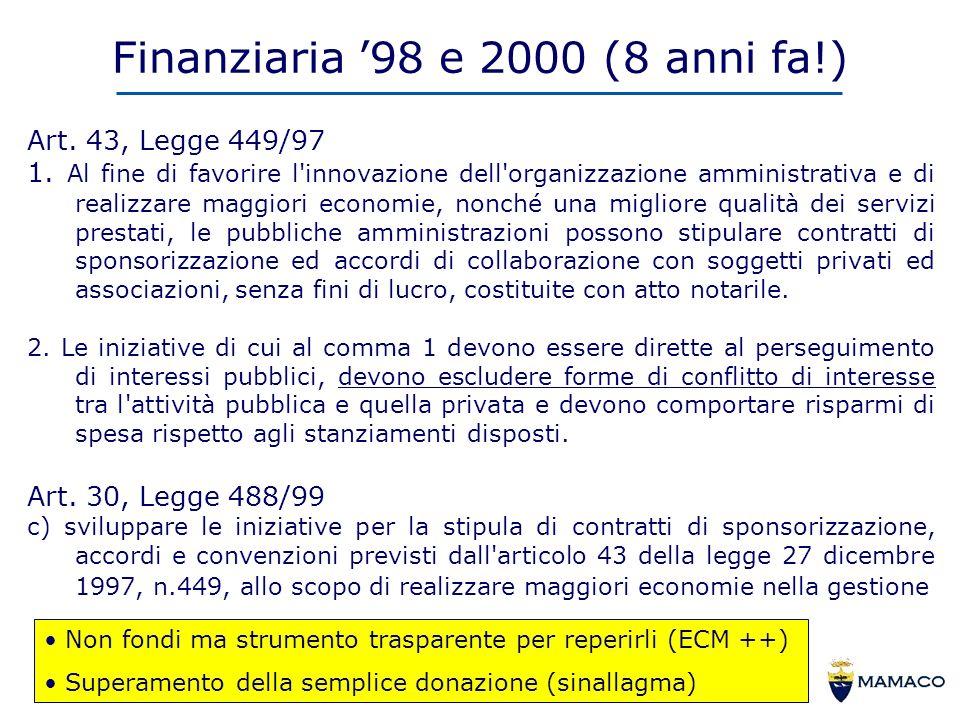 Finanziaria 98 e 2000 (8 anni fa!) Art. 43, Legge 449/97 1.